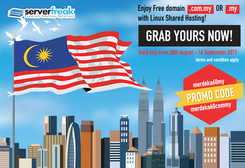Merdeka Promo 2017, Enjoy FREE domain when you subscribe today!
